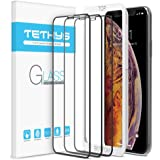 """Tethys Glass Screen Protector Designed for iPhone Xs Max (6.5"""") [3-Pack] [Edge to Edge Coverage] Full Protection Durable Tempered Glass for Apple iPhone Xs Max Guidance Frame Included (Pack of 3)"""