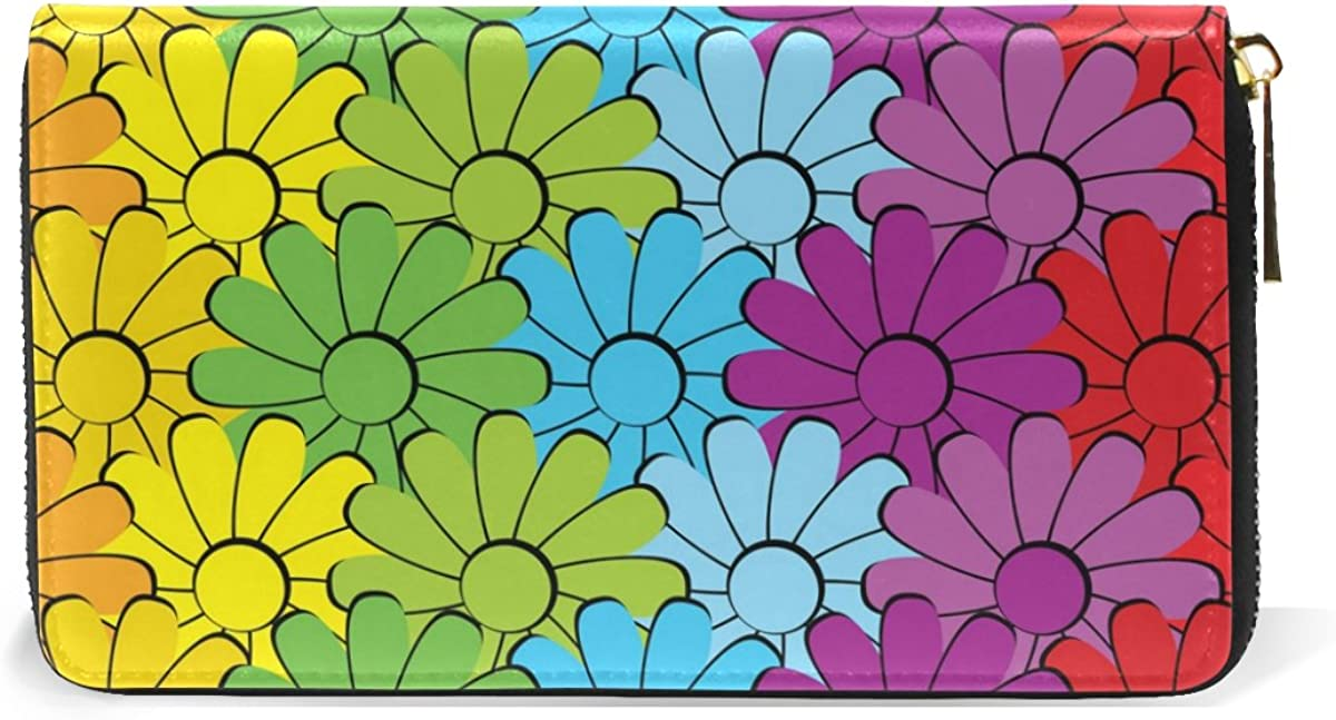 MAPOLO Rainbow Flowers Womens Clutch Purses Organizer And Handbags Zip Around Wallet
