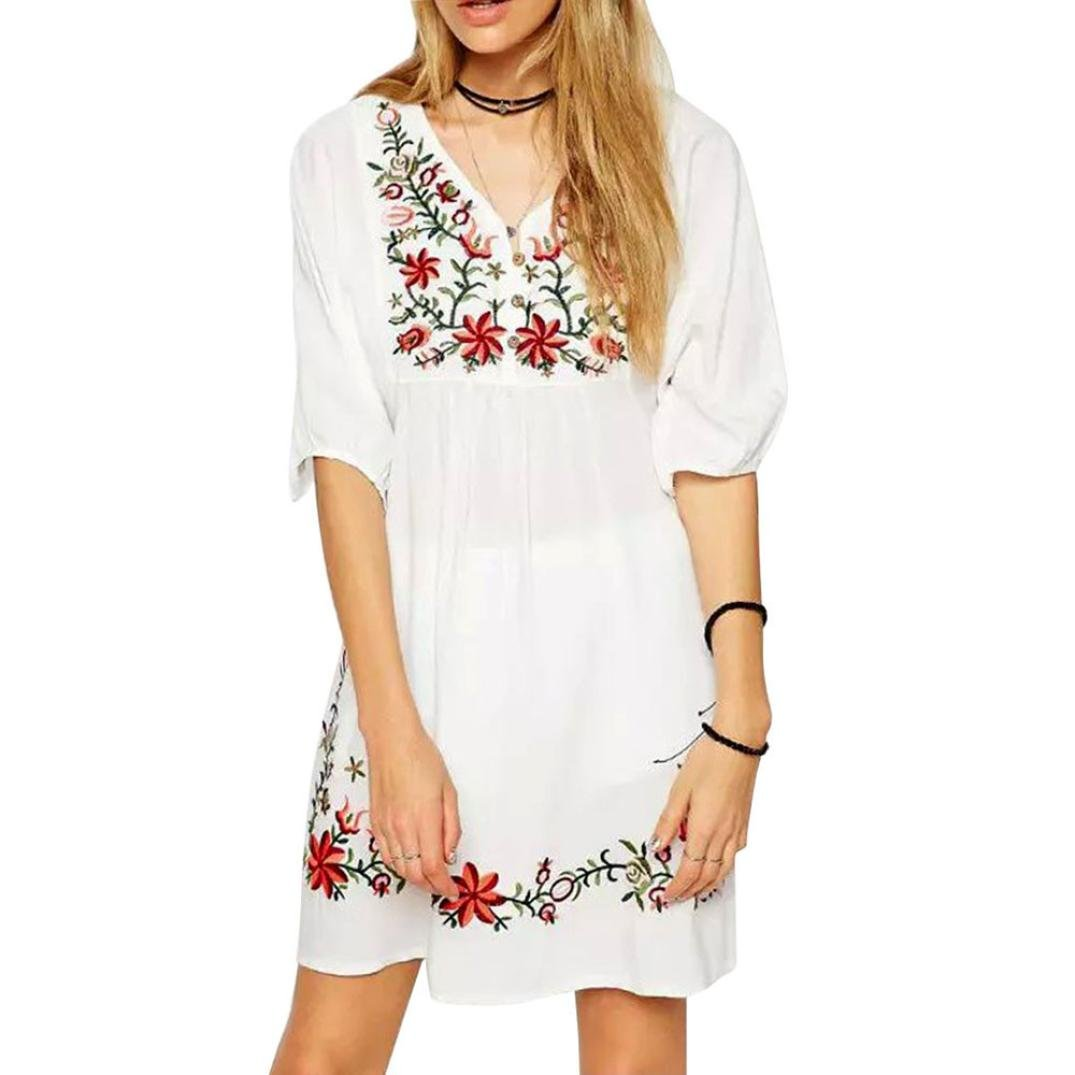 1ba97247893c Summer dress women mexican ethnic embroidered pessant hippie blouse boho  mini dress at amazon womens clothing