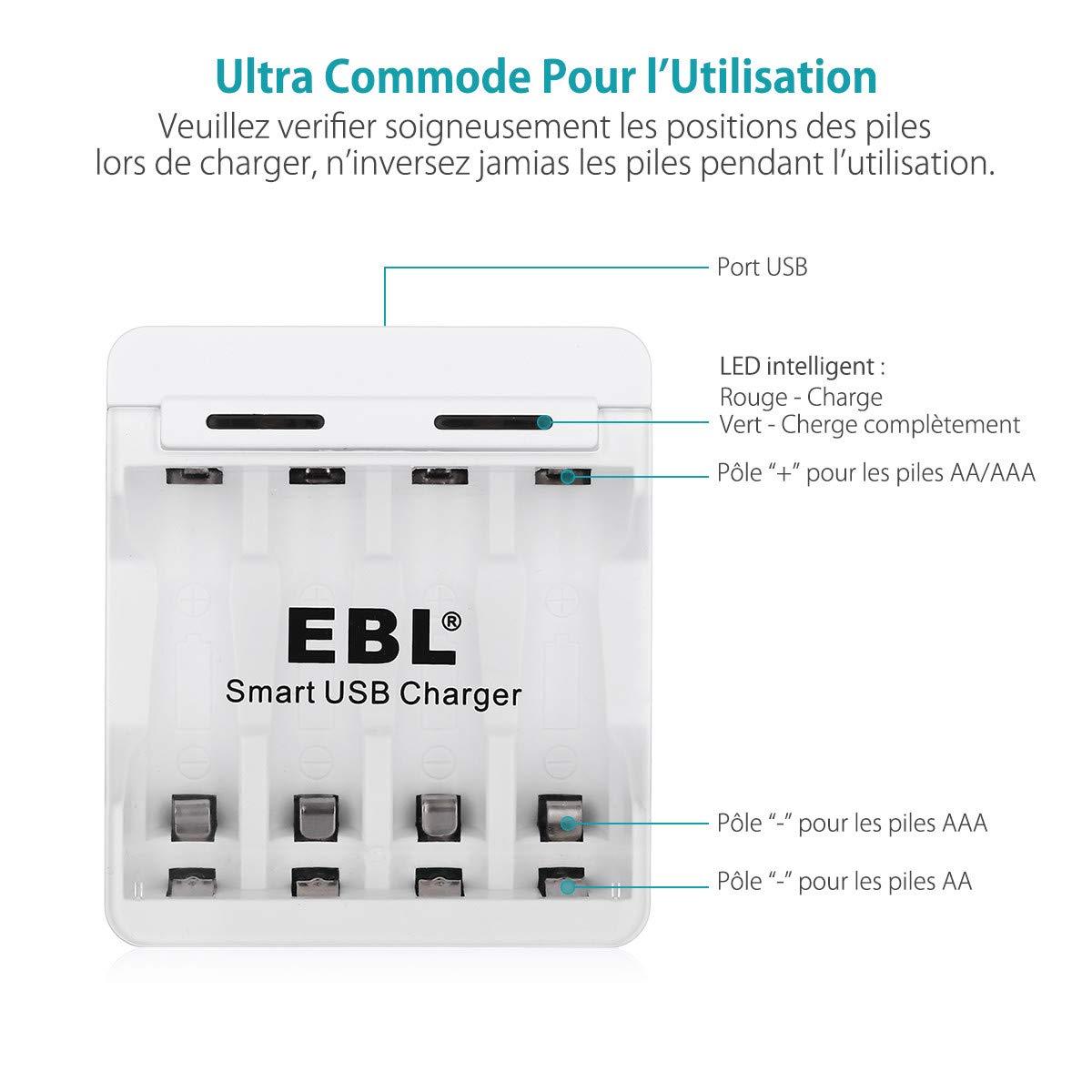 EBL 4 prise chargeur de pile rechargeable AA/AAA Ni-MH Ni-CD chargé par le Port USB Livré avec USB