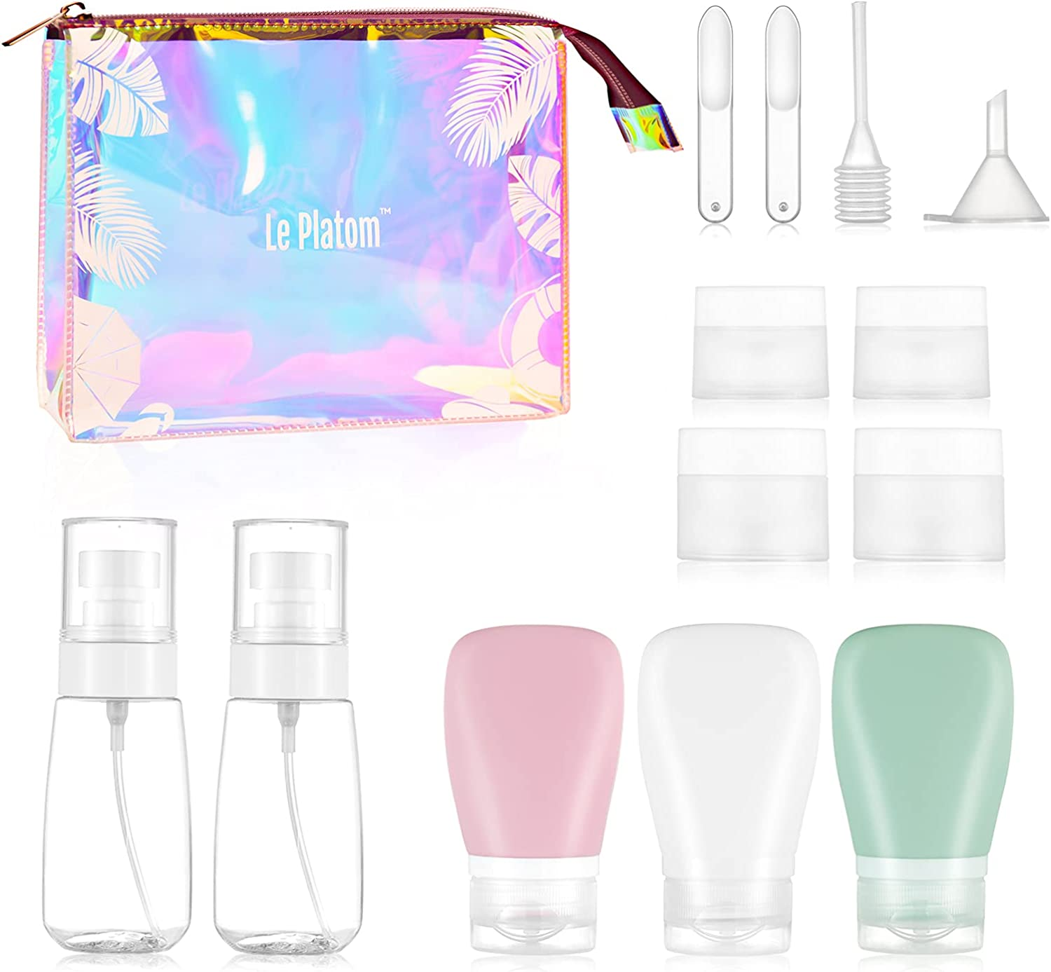 LePlatom Silicone Travel Bottles set 14pcs, Spray Bottles, Silicone Container Bottle, Leak-Proof Travel Cosmetic Container Holographic Bag, 311 TSA Approved Travel Container For Toiletries, With Labels