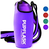 Tuff Pupper PupFlask Insulated Neoprene Dog Water Bottle Holder Sling with Wide Adjustable Shoulder Strap, Great for Travel, Walking, Hiking, Portable Pet Water Bottle Holder (27 OZ, Ultra Violet)