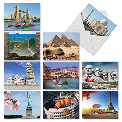 10 'Lady B's Travels' Greeting Cards Featuring Ladybugs Visiting Famous Landmarks - All Occasion Note Cards with Envelopes, Blank Stationery for Weddings, Birthdays, Thanks 4 x 5.12 inch ()