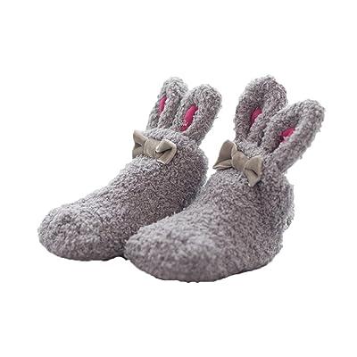 1 Pair Cute Baby 0-1 Year Bunny Ears Coral Antiskid Padded Thick Floor Socks