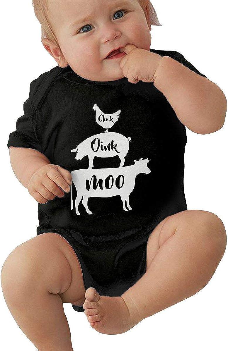 HOUFOUCC Cow Pig Rooster Farm Baby Onesie Organic Short-Sleeve Bodysuit