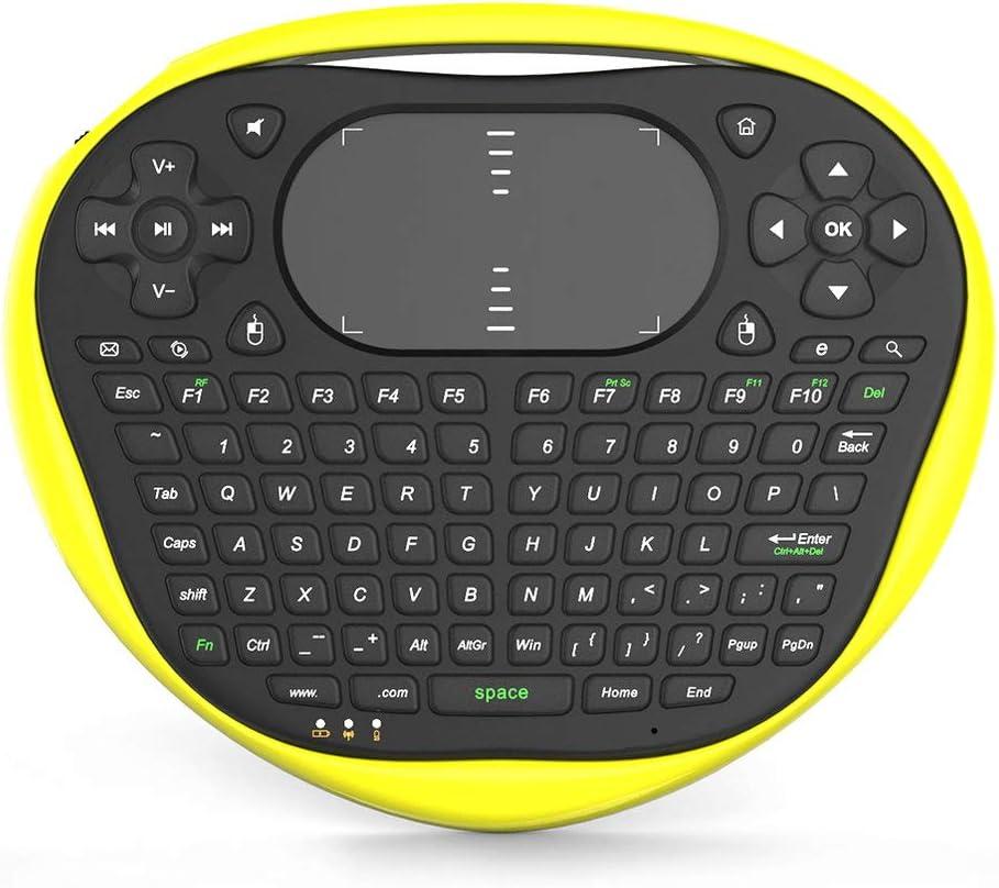 CHOULI Nuovo T8 Wireless Mini Tastiera 2.4G Air Fly Mouse Tastiera touchpad in Gomma Giallo
