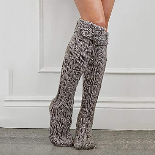 a9f6e6f1738 Amazon.com  Quelife Women Christmas Warm Thigh High Long Stockings Knit  Over Knee Woolen Socks (Gray12