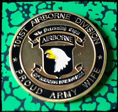 101st Airborne Screaming Eagle Proud Army Wife Colorized Military Challenge Art Coin ()