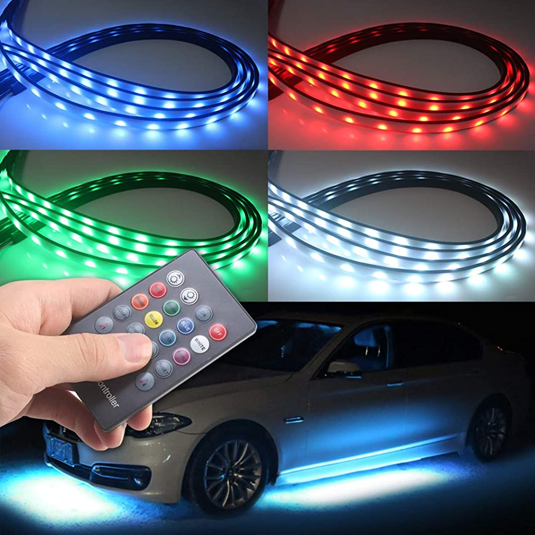 アラバマそしてバケツ車テープライト新型 車用 LED音楽テープライトRGB 全8色に切替 音楽連動 音に反応サウンドセンサー内蔵 防水 高輝度 フルカラー車内装飾用LEDテープ ledライト 多種フラッシモード リモコン付き(一年保証)リモコン交換可能 (26)