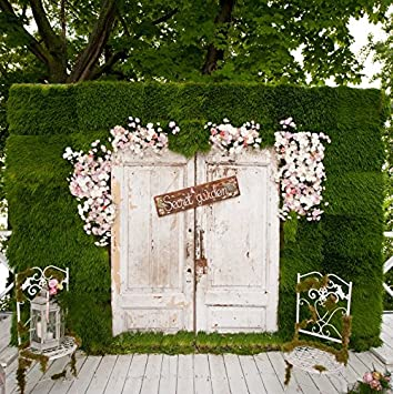 Wedding Photography Booth Ideas.Laeacco Wedding Photography Background 10x10ft Photo Booth Decorations Spring Green Chest Wall With Retro Wood Door Design Wood Floor Chair Scene