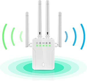 WiFi Repeater - WiFi Booster,Signal Extender, 360° Full Coverage Up to 2500 sq.ft,1200 Mbps 2.4 & 5GHz Wireless Internet Amplifier - Covers 20 Devices with 4 External Advanced Antennas