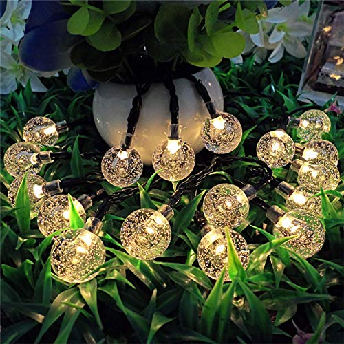 Nasharia 60 LEDs Solar Globe String Lights, 36FT Bubble Crystal Ball Fairy Lights Waterproof Outdoor Decorative String Lights for Garden Courtyard Home Patio Lawn Party Holiday,8 Modes and Warm White by Nasharia (Image #1)