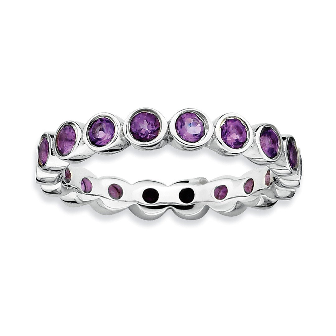 ICE CARATS 925 Sterling Silver Purple Amethyst Band Ring Size 6.00 Stone Stackable Gemstone Birthstone February Fine Jewelry Gift Set For Women Heart