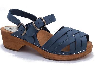 16aad4f896 Moheda Swedish Clogs : Low Heel Braided Clogs Klara in Navy Nubuck (EU 40/