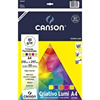 Bloco Criativo A4, Canson, Lumi, 80gr, 5 Cores Fluorescentes, 50 Folhas