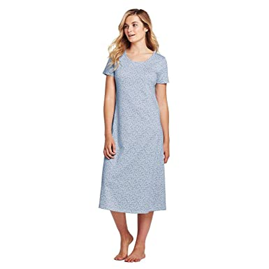 b25cac1875d Lands' End Women's Petite Midcalf Supima Cotton Nightgown Print Short  Sleeve, S, Gossamer Blue/White Vines at Amazon Women's Clothing store: