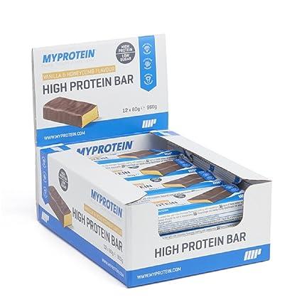 MyProtein High Bar Barritas de Proteínas, Sabor Vainilla y Miel - 12 Barras