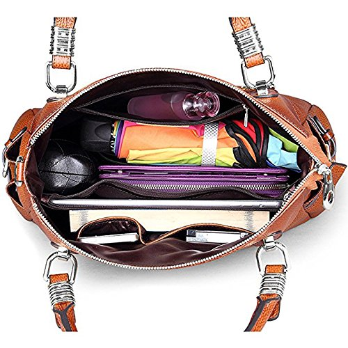 S-ZONE Women's Vintage Genuine Leather Tote Shoulder Bag Top-handle Crossbody Handbags Ladies Purse (Brown) by S-ZONE (Image #5)