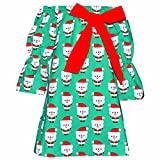 Unique Baby Girls Christmas Santa Dress With Bow (7/XXL, Green)