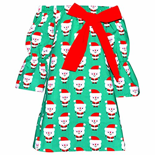Unique Baby Girls Christmas Santa Dress With Bow (7/XXL, Green) by Unique Baby