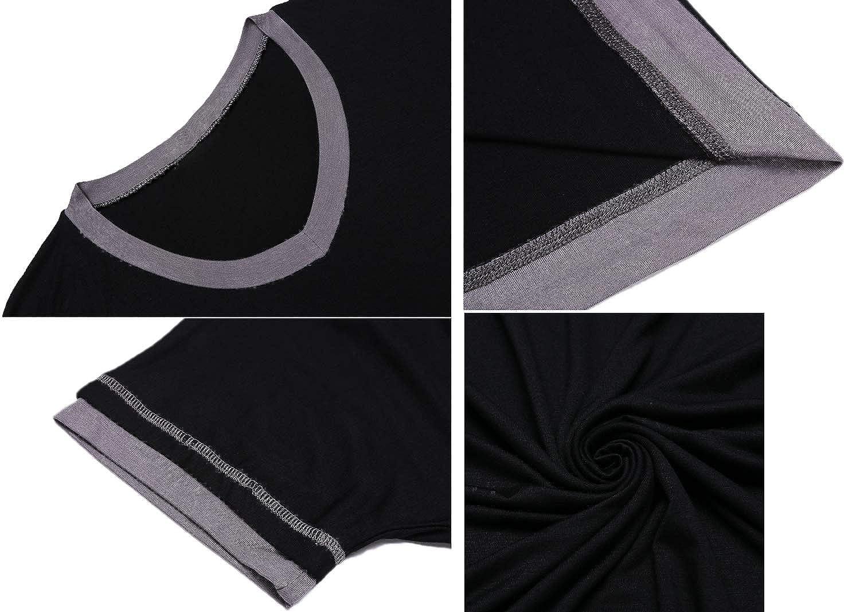 Lucyme Damen Basic Nachthemd mit Kr/äuselr/ändern Kurz Nachtkleid Kurzarm Sleepshirt