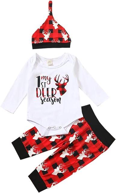 Pantalones Largos con Patrones Lindos Sombrero//Diadema Beb/é Reci/én Nacido 3 Piezas Ropa Navide/ña para Ni/ños Ni/ñas Mameluco de Manga Larga con Letras Mi Primer Navidad