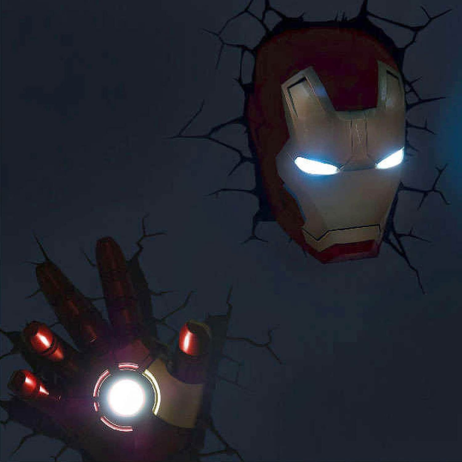 Marvel Avengers Iron Man Mask Helmet Hand 3d Fx Deco Led Wall Lights Amazon De Beleuchtung