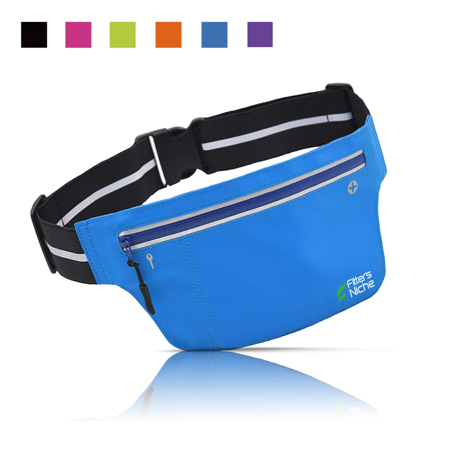 fitter's niche Ultra Slim Fanny Waist Pack Running Belt for Women Men Bounce Free Fitness Workout Pouch Super Light Bum Bag for iPhone Xs 8 Samsung When Cycling Jogging Hiking Marathon Gym Sports