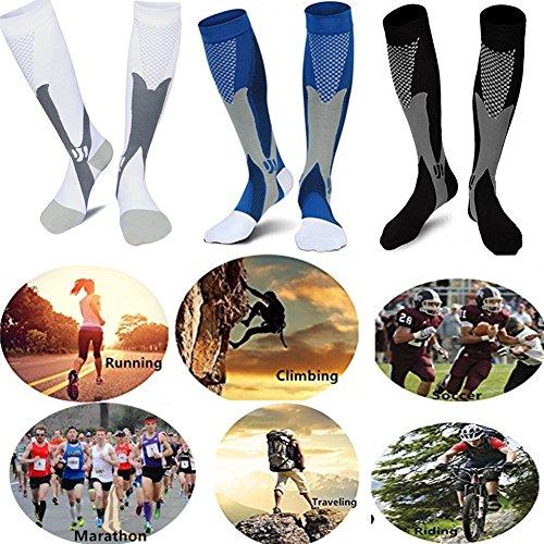 3 Pairs Medical&Althetic Compression Socks for Men,20-30 mmhg Nursing Socks for Edema Diabetic Varicose Veins Running (Blue+Black+White)