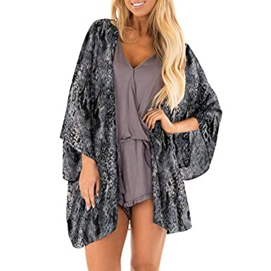 Susen A Blusa Mujer Elegante Talla Grande Imprimiendo Chaqueta De Gasa con Estampado De Serpiente Kimono Camisetas Mujer Verano