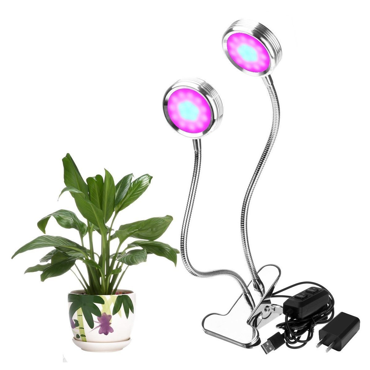 LED Grow Light 16w Dual Head Plant Lights 2 level Dimmable Desk Clip Lamp Bulb with 360 Degree Flexible for Indoor Garden Greenhouse Hydroponic Office