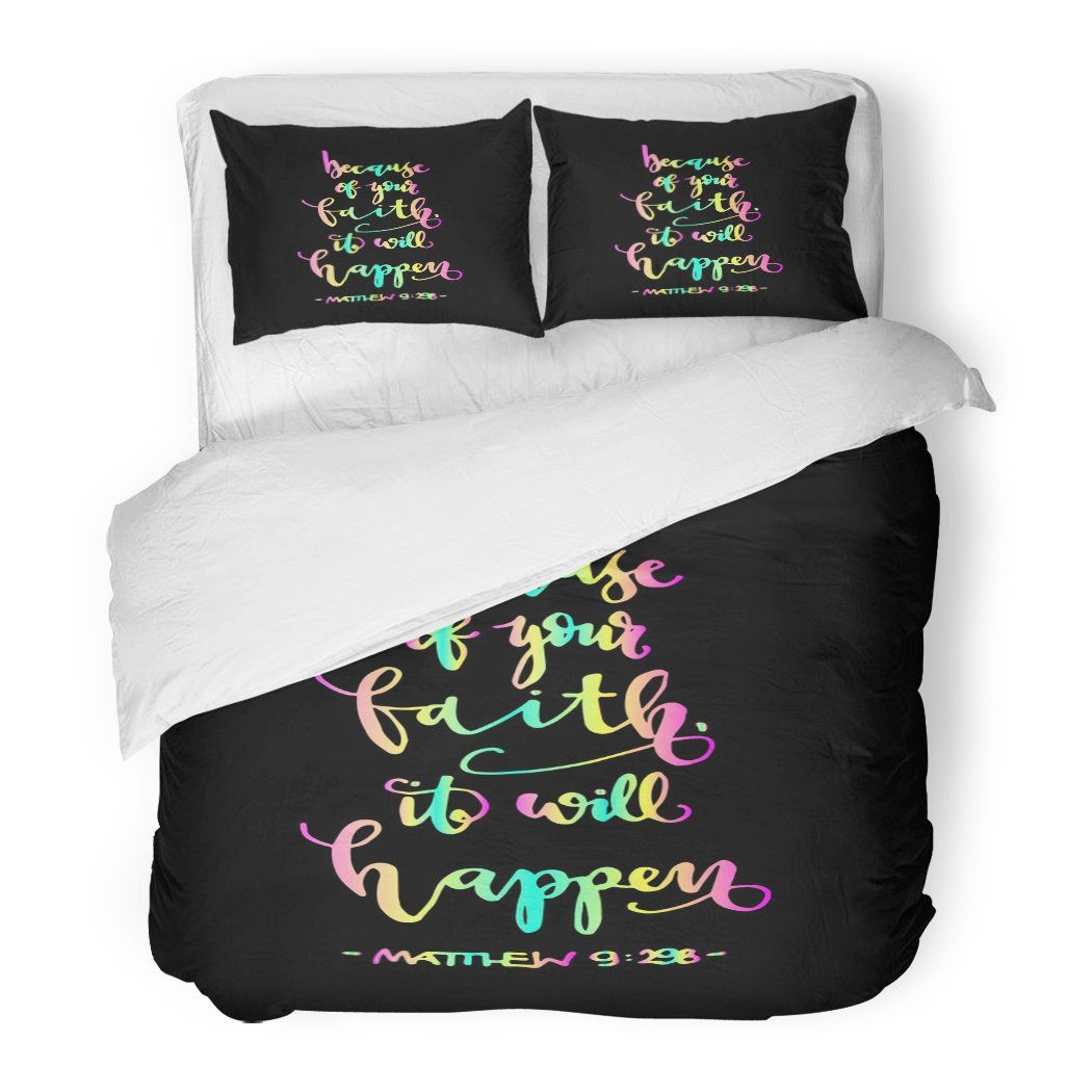 SanChic Duvet Cover Set Because of Your Faith It Will Happen Bible Verse Hand Lettered Quote Modern Calligraphy Christian Decorative Bedding Set with 2 Pillow Shams Full/Queen Size