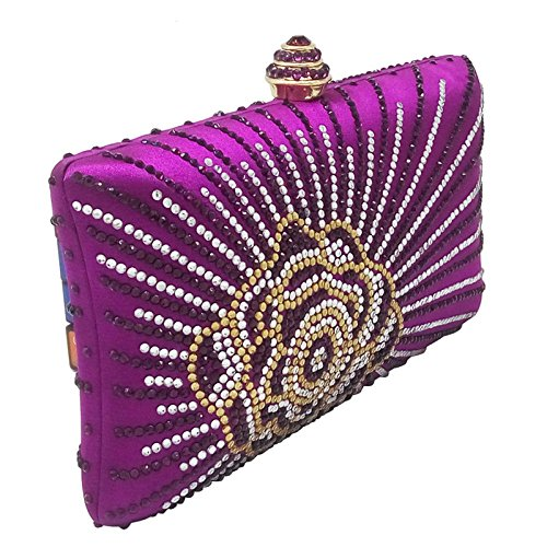 Chain Clutch Bag Rhinestone Dinner Bag Purple Fashion Diamond Ladies Evening Hot Handbag Bag Dress Cheongsam Banquet Silk n658OYwq