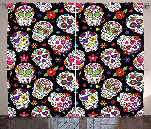 Ambesonne Sugar Skull Decor Curtains, Festive Graveyard Mexico Ritual Figures Mask Design on Black Backdrop, Living Room Bedroom Window Drapes 2 Panel Set, 108 W X 63 L Inches, Multicolor ()