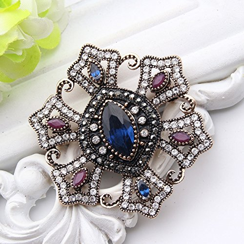 d982ca2064 Amazon.com: Style Women Flower Resin Brooch Pins Antique Gold Color ...