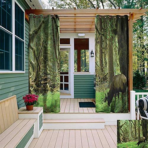 Rainforest, Outdoor Curtain Ends, Roosevelt Elk in Rainforest Wildlife National Park Washington Antlers Theme, Fabric W96 x L108 Inch Green Brown