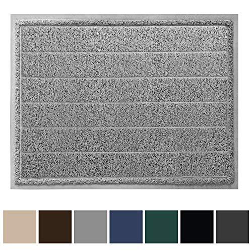 Gorilla Grip Original Durable Indoor Door Mat, 47x35, Large Size, Heavy Duty Doormats, Commercial Waterproof Stripe Doormat, Easy Clean, Low-Profile Mats for Entry, Garage, High Traffic Areas, Gray from Gorilla Grip