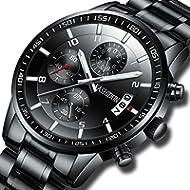 KASHIDUN Men's Watches Sports Military Quartz Wristwatches Waterproof Chronograph Stainless Steel...