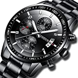KASHIDUN Men's Watches Sports Military Quartz Wristwatches Waterproof Chronograph Stainless Steel Band Black Color 998-QHG