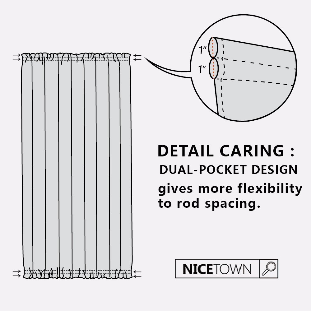 NICETOWN Patio Door Window Drape - Functional Thermal Insulated Blackout Sidelight Panel Curtain for Glass Door (25W by 72L Inches, Burgundy, 1 Panel) by NICETOWN (Image #6)