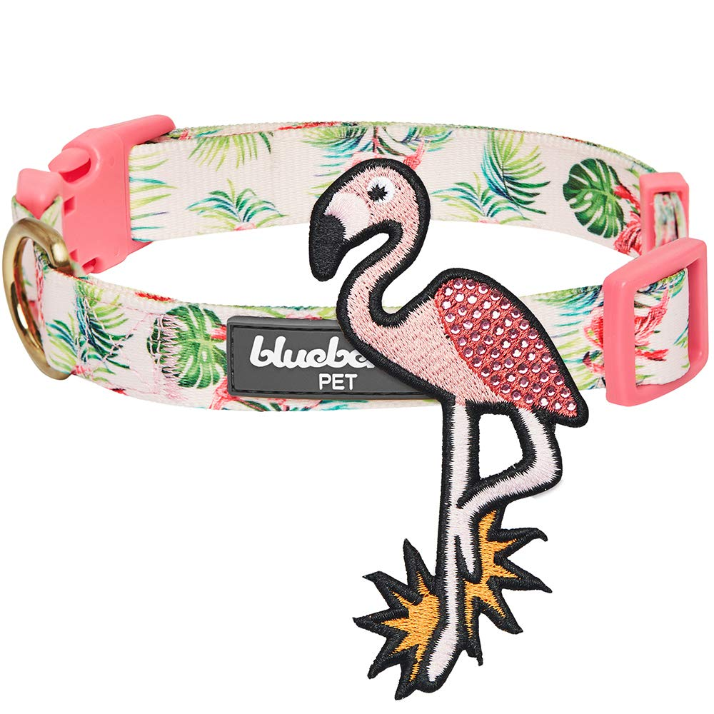 Blueberry Pet 2019 New Summer Hawaiian Palm Leaf Dog Collar with Cute Flamingo, Medium, Neck 14.5''-20'', Adjustable Collars for Dogs