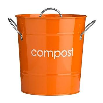 orange compost bins garden kitchen bucket bin caddy waste rubbish galvanised steel bins