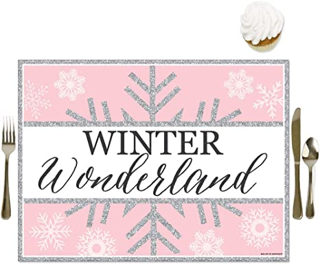 Amazon Com Big Dot Of Happiness Pink Winter Wonderland Party Table Decorations Holiday Snowflake Birthday And Baby Shower Placemats Set 16 Home Kitchen