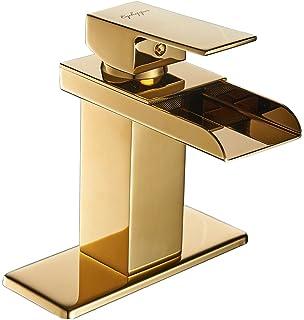 Lovely Eyekepper Comteporary Style Waterfall Single Handle Basin Vanity Sink  Vessel Bathroom Faucet Mixer Tap,Gold