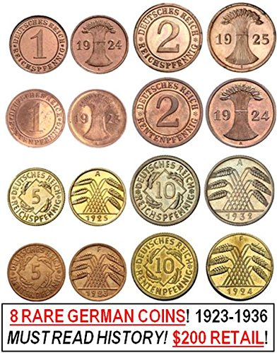 DE 1923 EVERY BRONZE & BRASS REICHS & RENTEN PFENNIG 1,2, 5 & 10 PFENNIG COIN of THE WEIMAR REPUBLIC! 8 DIFF COINS! READ HISTORY! AMAZON SPECIAL 1.99 EACH!! Very Fine to About Uncirculated (Best Value Hearthstone Packs)