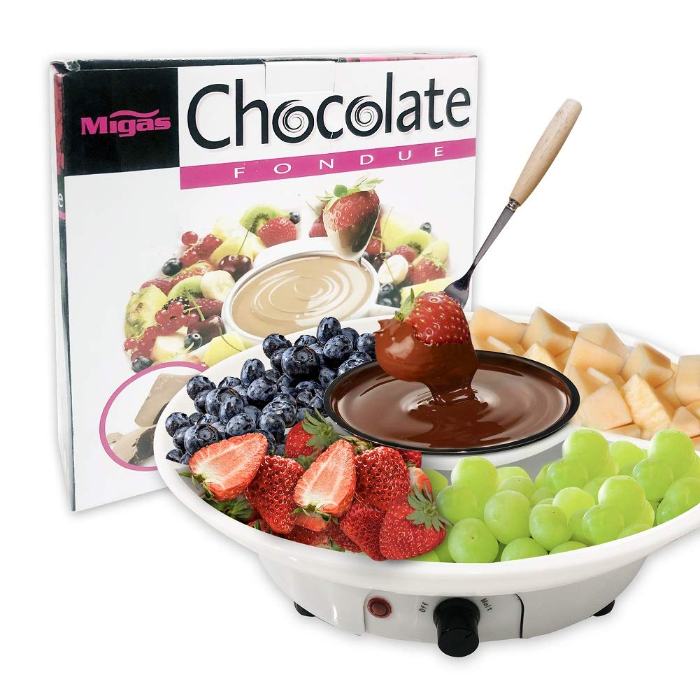 Chocolate Fondue Maker - Electric Chocolate Melting Pot Set with Stainless Steel Bowl, Serving Tray, 10 Fondue Forks by DIY (Image #7)