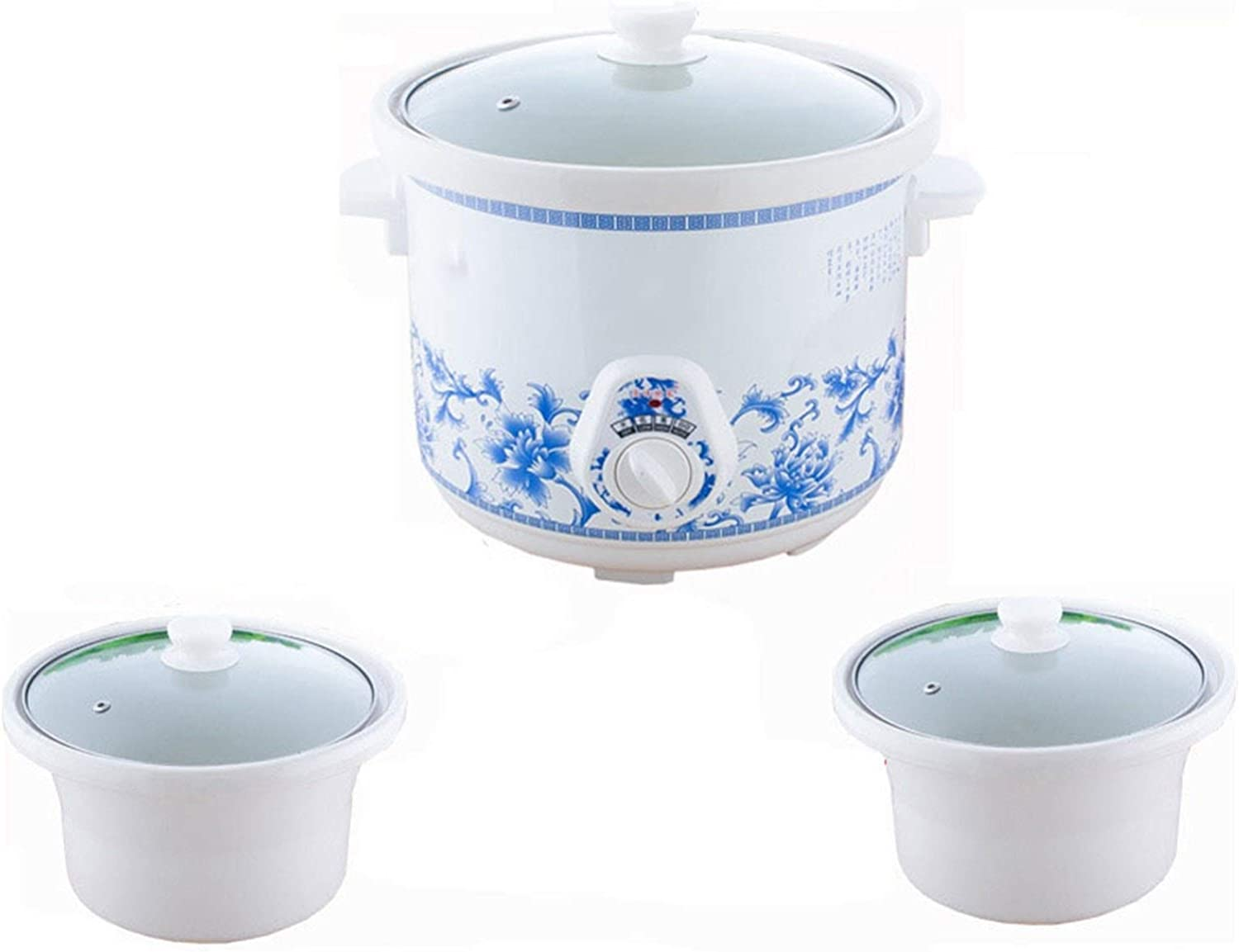 WYJW Household Electric Mini Slow Cooker 140W Mechanical Timer Stewing Soup Porridge Pot Ceramic Food Cooking Machine 1.5L Suitable for Steam Cook Stew Taste Delicious Family Kitchen (Color : A)