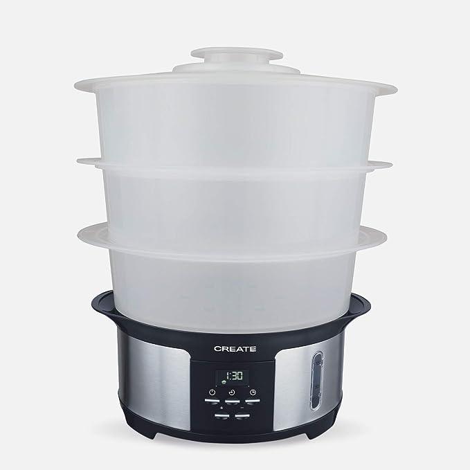 IKOHS Pot Steam - Vaporera Eléctrica 1.4L, Cocina hasta 3 Platos a la Vez, 5 Menús Preestablecidos y Modo Manual, Libre de BPA, Fácil de Usar y Limpiar, Cocina al Vapor, Programable: Amazon.es