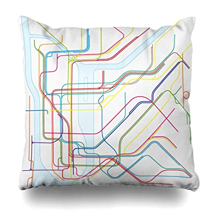 Creative Subway Map.Amazon Com Nowcustom Throw Pillow Cover United City Colored Subway