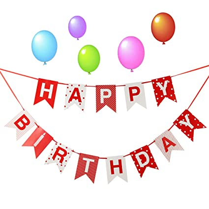 LOVELY BITONTM Happy Birthday BannerParty Decorations Supplies Bunting